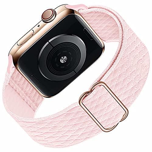 HILIMNY Solo Loop Compatible con Apple Watch Correa 38mm 40mm, Deportivas de Nailon Elástico Trenzado Para Correas de Repuesto Compatible con iWatch SE Series 6 5 4 3 2 1, Pearl Pink 38mm 40mm