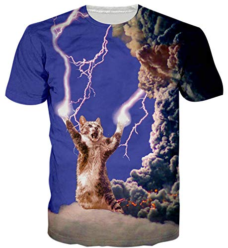 Mens Womens Lightning Cat Print Shirt Summer 3D Funny Casual Short Sleeve Funky Tshirt Tee Tops Large