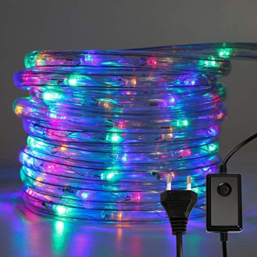 Hengda LED Lichterschlauch, Bunt 10M 240 LEDs Aussen LED Schlauch mit 8 Modi und Timer, Wasserdicht Lichtschlauch für Außen Innen Garten Party Hochzeit Weihnachts Deko