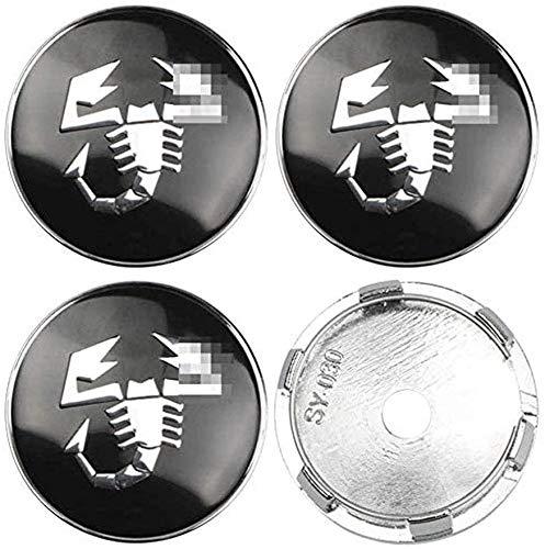 YANQIN para Fi-at Abarth Punto 124 125 125 500 4 Piezas Tapas Centrales, Tapacubos Pegatinas Wheel Logotipo Casquillos Hub Caps AutomóViles Accesorios Cubo Coche ProteccióN NeumáTicos