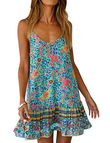 Qearal Womens Sleeveless Boho Dress ,Flower Print Cover Up Beach Mini Strappy Tank Dresses with Pocket