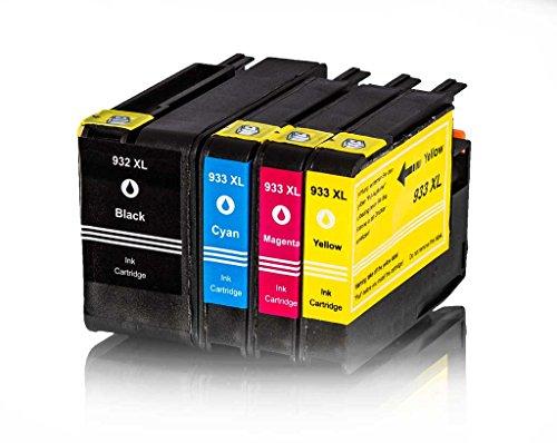4 Tintenpatronen für HP 932XL 932 XL 933XL 933 XL kompatibel (Schwarz, Cyan,Magenta, Gelb)