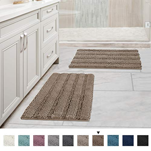 Original Luxury Striped Chenille Bathroom Rug Mat, Extra Soft and Absorbent Rugs, Machine Wash/Dry,...