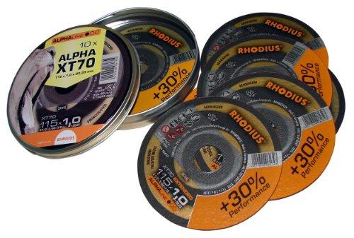 Rhodius 207808 doorslijpschijven roestvrij staal 115 x 1,0 mm, 10 stuks XT 70 box met 10 schijven