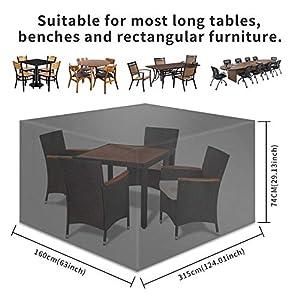 TAOCOCO Funda para Muebles de Jardín Impermeable, protección contra el Polvo y los Rayos UV, Cubierta de Mesa y Silla para Muebles de jardín, Resistente al Agua y sin decoloración, 315x160 x74 -Negro