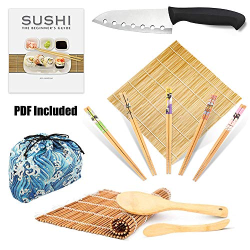 Bamboo Sushi Making Kit-2 Carbonized Bamboo sushi Rolling Mats,1 Sushi Knife, 5 Pairs Chopsticks,1 Rice Paddle,1 Rice Spreader,1 Storage Bag-Complete Sushi Maker for Beginner(Blue wave)