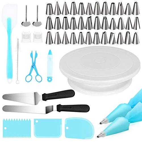 Taartdecoratie accessoires, 52 stuks platenspeler piping tip mondstukset cake bakgereedschap bakken accessoires kit | draaibare draaiplatenstandaard, suikergiet- & spuitzakken en tipset, ijspak