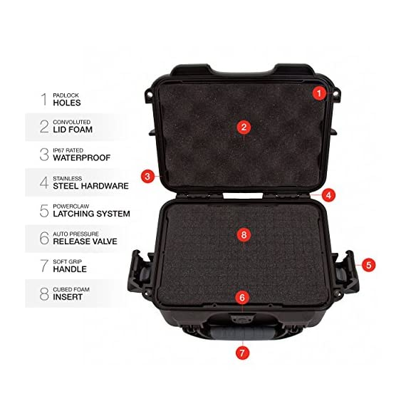 """Nanuk 904 waterproof hard case with foam insert - black 2 interior dimensions l8. 4"""" x w6. 0"""" x h3. 7"""" 