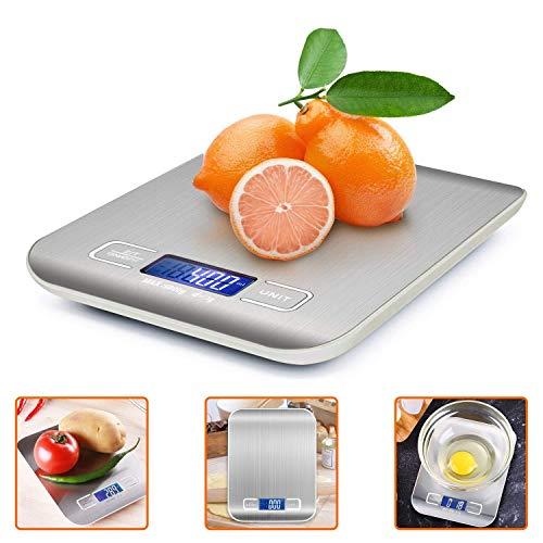 iKALULA KisScale Báscula de Cocina Digital de Acero Inoxidable, Pantalla LCD, función de Tara, Alta precisión hasta 1 g (Peso máximo de 5 kg), plata