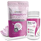 NutraBlast Boric Acid Suppositories 600mg w/ Vaginal Applicator, 30 Suppositories & 15 Applicators - Feminine Care - Made in USA