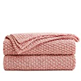 Longhui bedding Dusty Pink Knitted Throw Blanket for Couch, Soft, Cozy Machine Washable 100% Cotton Sofa Knit Blankets, Heavy 2.8lb Weight, 50 x 63 Inches, Pink and White Color, Laundry Bag Included