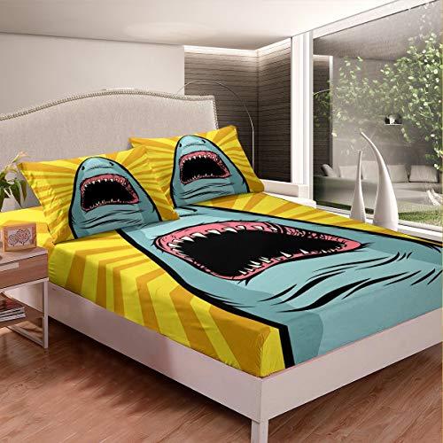 Loussiesd Juego de sábanas bajeras con estampado de tiburón, para niños, adultos, rayas geométricas, decoración de habitación ultra suave, tamaño individual