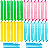 28 Pieces Hair Curlers Spiral Curls No Heat Wave Hair Curlers Styling Kit Spiral Hair Curlers Magic Hair Rollers with 2 Pieces Styling Hooks for Extra Long Hair Most Kinds of Hairstyles (75 cm)