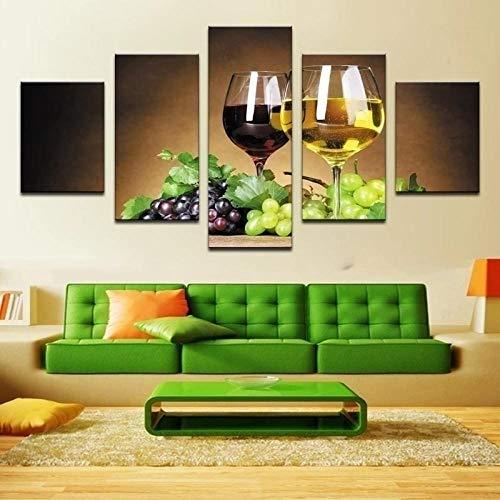 Fdit 5pcs Impresión de Fotos HD Uvas y Vino Póster Artístico Pintura Sala de Estar Dormitorio Pasillo Pared Decoración para el hogar Imagen Arte Sala de Estar Regalos de año Nuevo