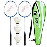 FEROC 3003 Aluminum Badminton Racket Set of 2 with- 3 Pieces Feather SHUTTLES