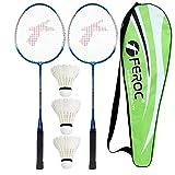 FEROC 3003 Aluminum Badminton Racket Set of 2 with- 3 Pieces Feather SHUTTLES