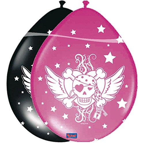 Folat FL05905 Piraten Mädchen Ballon Rosa-Schwartz 8 Stuck, schwarz
