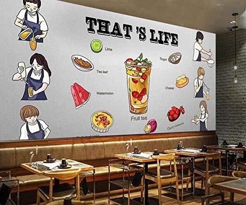 Muursticker muurschildering hand beschilderde middag thee koude drank taart winkel poster cafe dessert winkel ijs winkel pizza winkel bakkerij restaurant foto behang-250cmx175cm