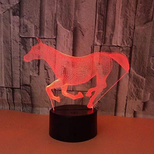 3D Nachtlicht Tierisches Laufendes Pferd Kinder Geschenke,Usb Led Nachtlicht Spielzeug, 16 Farbwechsel Mit Fernbedienung Oder Touch, Besten Geschenke Für Kinder Geburtstagsfeiertag
