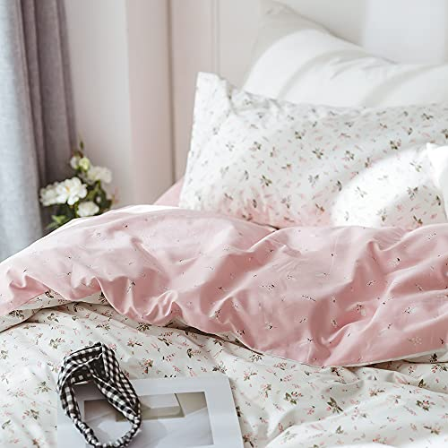 VClife Queen Cotton Duvet Cover Sets Pink White Floral Bedding Sets 100% Cotton Vintage Style Flower Branches Pattern Duvet Covers with 2 Pillowcases, Zipper 3 Pieces Full Queen Bedding Set