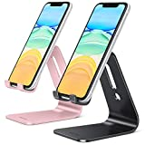 [2 Pack] OMOTON Cell Phone Stand, Upgraded Aluminum Cell Phone Holder Phone Cradle with Protective Pads for iPhone 11 Pro Max, 11 XR XS 8 Plus SE , iPad Mini and Android Phones, (Rose Gold + Black)
