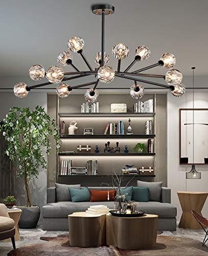 "Efperfect Modern Sputnik Chandelier 18-Light Crystal Pendant 43"" LED Ceiling Light Pendant, Cut Crystal with G9 LED Bulbs (Black) Arkansas"