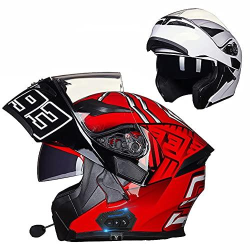 Letetexi Casco Moto Modular Bluetooth Integrado Casco de Motocicleta con Función de Respuesta Automática con Certificación ECE con Gafas De Protección para Adulto 54~63cm