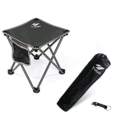 Portable Camping Stool, Folding Chair for Camping Fishing Hiking Gardening and Beach, Grey Seat with Black Bag (1 Piece)