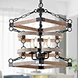 Wooden Light Chandelier Rustic Framhouse Pendant Light Fixture,4-Light Farmhouse Chandelier,Retro Vintage Industrial Rustic Hanging Ceiling Light Fixture for Kitchen Island Dining Room Foyer