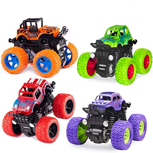 Monster Truck Toys - Friction Powered Toy Cars Push and Go Vehicles for Kids Best Christmas Birthday Party Gift for Boys Girls Aged 3 and Above 4-Pack