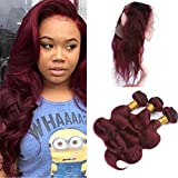 Burgundy 360 Lace Frontal with Bundles Pre Plucked Color Wine Red 99J Body Wave Malaysian Virgin Human Hair Weaves with 360 Lace Frontal Closure with Baby Hair (14 with 16 18 20)