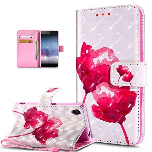 Kompatibel mit Schutzhülle Sony Xperia Z3 Hülle Handyhülle Leder Hülle,3D Bunte Gemalte Schmetterlings Muster PU Lederhülle Flip Ständer Wallet Handy Hülle Tasche Handy Tasche Schutzhülle,Rosa Lotus