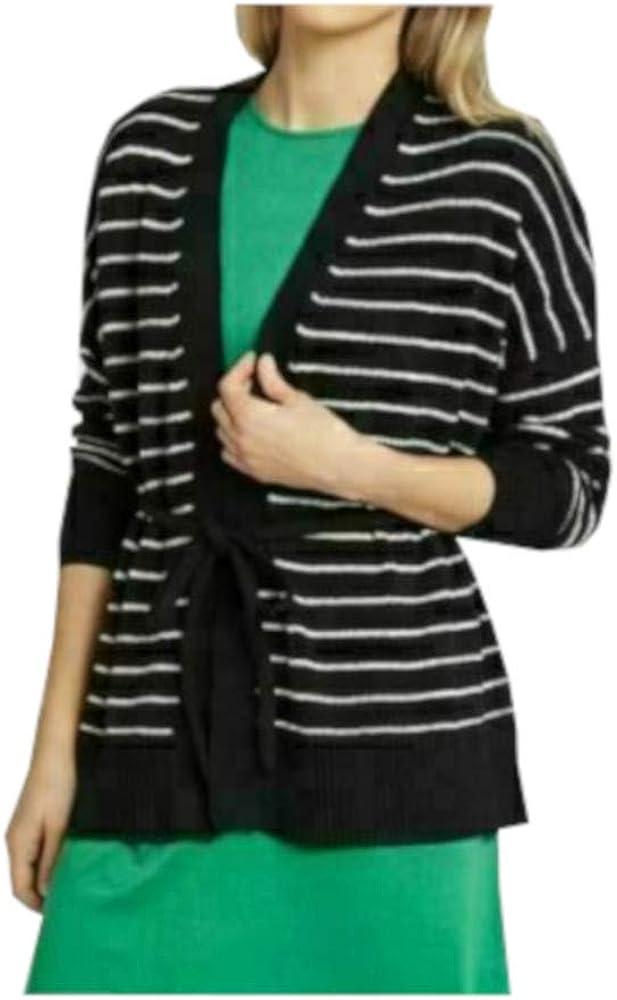 Who What Wear Womens Size X-Small L/S Wrap Cardigan, Black/White Stripe