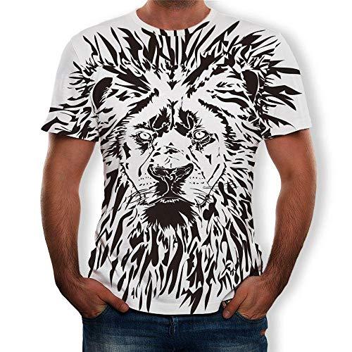 RKWEI - Camiseta de manga corta para hombre, diseño de cabeza de...