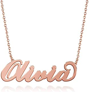 Olivia Name Necklaces Pendant Stainless Steel Rose Gold Custom Necklace Personalized Nameplate Gifts for Women, Men, Mom, Girls, Boys, Kids, Him, Her