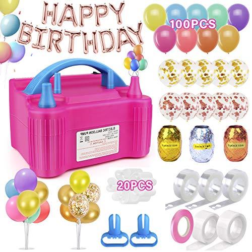 170 Pcs Balloon Pump Electric, Ballon Inflator Pump Electric Air Pump Blower, Balloon Arch Kit for Birthday Parties Wedding Festival Balloons Set, 110V 600W (Rose Red)