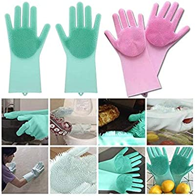 House of Quirk Magic Silicone Gloves with Wash Scrubber, Reusable Brush Heat Resistant Gloves Kitchen Tool for Cleaning, Dish Washing, Washing The Car, Pet Hair Care - 1 Pair (Multicolor)