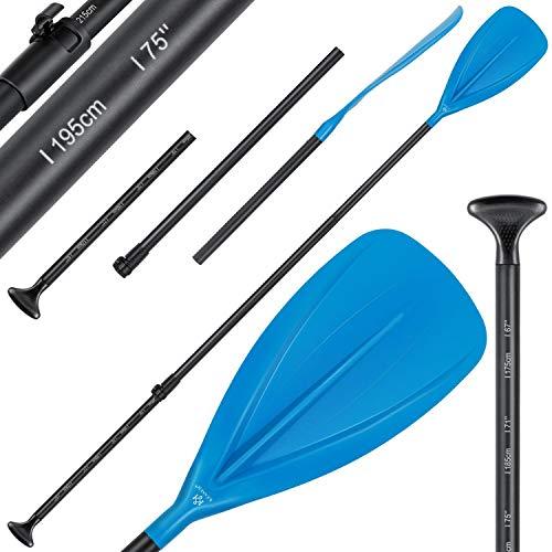KESSER® Paddle - 3-teilig für Kayak SUP Stand-Up Paddling Board Stechpaddel, Verstellbar Teleskop 165cm-215cm Aluminum für Stand Up Paddel Kajakfahren Surfboard Boot Anti-Rutsch Stecksystem, Blau