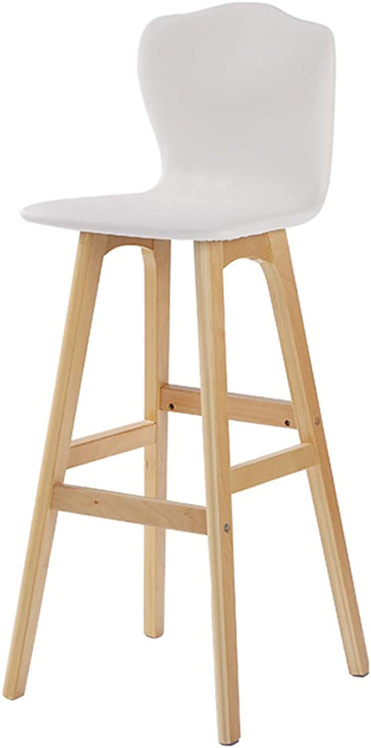 Barstools Chair Square Footrest with Leather Backrest Swivel Seat for Breakfast Pub   Café Bar Stool 4 Wooden Legs Max. Load 150 kg (color   White, Size   Seat Height 74cm)