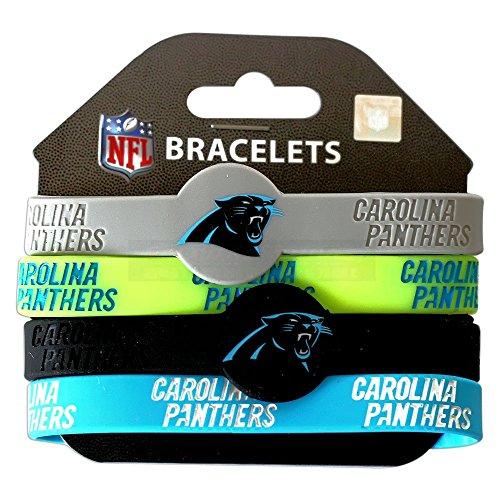 aminco NFL Carolina Panthers Silicone Bracelets, 4-Pack