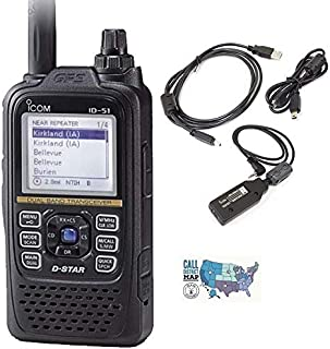 Bundle - 3 Items - Includes Icom ID-51A PLUS2 VHF/UHF Dual Band D-Star Portable HT Transceiver, Icom OPC2350LU Smart Phone Data Cable and Ham Guides TM Quick Reference Card