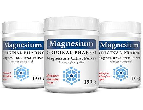 Magnesium-Citrat Pulver - 100% Pures Magnesiumcitrat ohne Zusätze - Für Muskeln, Nerven & Elektrolytbalance - 3 x 150 g   3 Dosen [Original-Pharno]