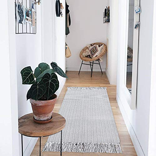 Boho Small Bathroom Rugs Tassel, Cotton Woven Kitchen Rug Bath Mat Gray, Farmhouse Gray Washable Fringe Cute Bedroom Entry Door Way Modern Rug 2'x4.3'