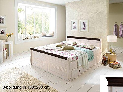"""Komfort Bett Doppelbett Ehebett Jugendbett Einzelbett Bettgestell \""""Alesund I\"""" 100x200 cm weiß-kolonial"""