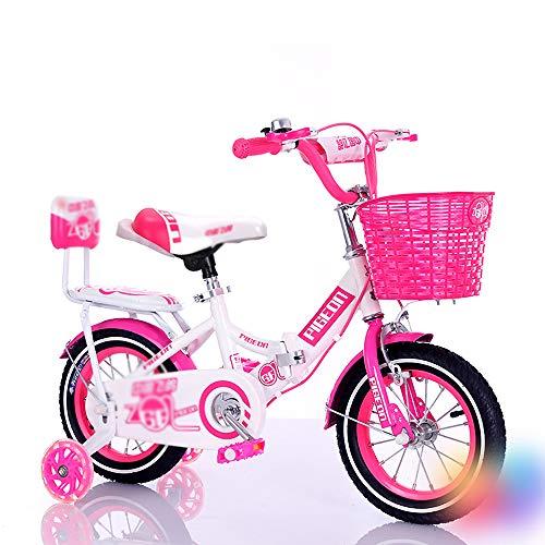 CivilWeaEU Bicicleta para Niña 12', 14', 16', 18' Bicicleta para Niños con Estabilizadores Y Canasta Corredera Andador Scooter De Altura Ajustable Bicicleta para Dama Mejor Regalo
