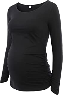 Women's Maternity Ruched Tunic Tops Mama Clothes Long Sleeve Scoop Neck Pregnancy T-Shirt