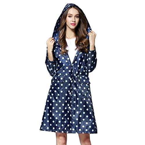 X-Labor Damen Punkte Regenmantel mit Kapuze Tasche Wasserdicht Atmungsaktiv Regenjacke Regencape dunkelblau