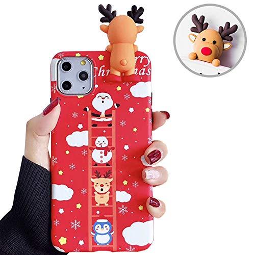 SGVAHY Carcasa de Navidad para iPhone 6/6S, diseño de Papá Noel de dibujos animados en 3D, silicona suave, ultrafina, a prueba de golpes, funda protectora (escaleras, iPhone 6/6s)