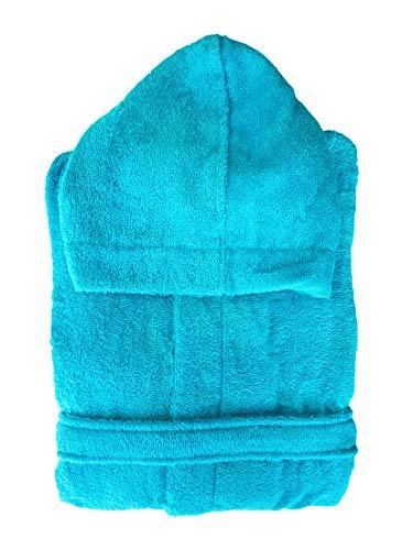 Zucchi Reise-Bademantel aus Mikrofrottee, 260 g, Art. Journey, ideal für Schäler und Reisen, verschiedene Größen und Farben, Blau L