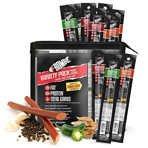 FBOMB Keto Meat Sticks - Sugar Free, Healthy Jerky Sticks   100% Natural, Non-GMO Nitrite Nitrate Free Pork   High Protein, Low Carb, Gluten Free, Paleo, Whole 30, Keto Snack Sticks   Variety 12 Pack